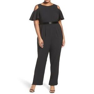 Eliza J Embellished Cold Shoulder Jumpsuit